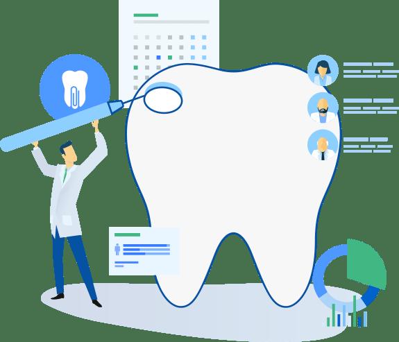 Dentista, imagem de um dente gigante e vários ícones que dão a entender sobre o software de gestão odontológica Dental Office.
