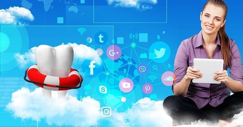 Imagem de uma mulher sentada nas nuvens e um dente com boia.